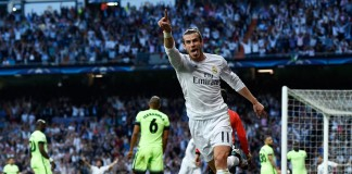 Gareth Bale celebrates Real Madrid's winner. Photograph Francisco Seco AP